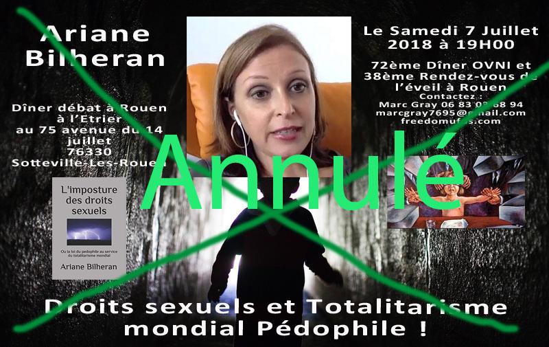 Ariane Bilheran : Droits sexuels et Totalitarisme mondial Pédophile ! 72ème Dîner OVNI et 38ème Rendez-vous de l'éveil àRouen