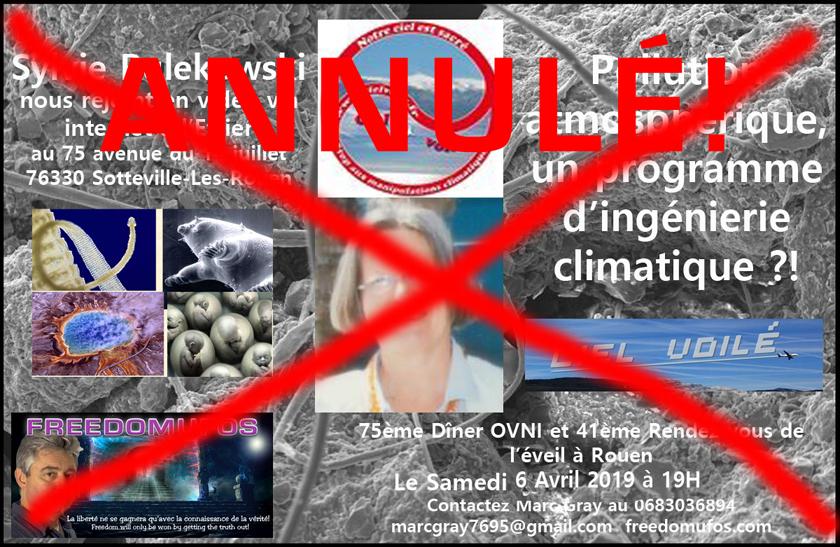 Sylvie Rulekowski : Pollution atmosphérique, un programme d'ingénierie climatique ?! 75ème Dîner OVNI et 41ème Rendez-vous de l'éveil àRouen